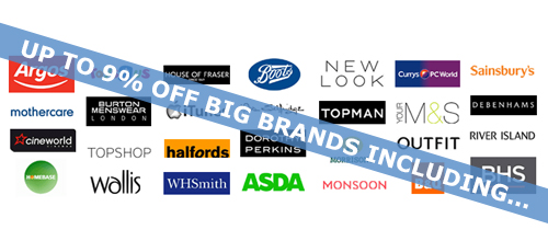 Savings on over 950 brands including Pizza Express, M&S and New Look