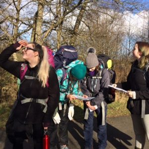DofE group members looking at their surroundings outdoors