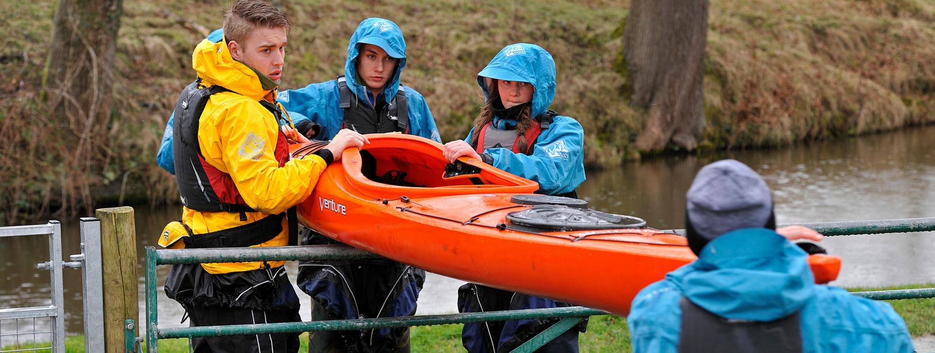 Canoe group teamwork