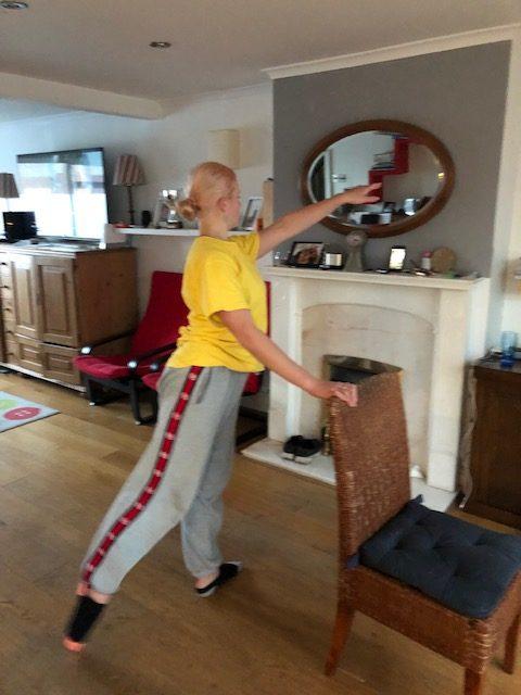 Margot dancing in living room