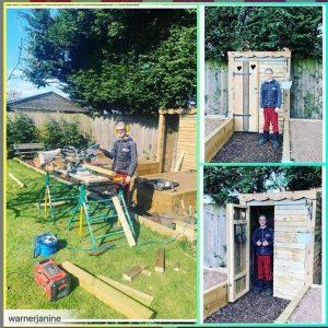 Sergio building shed in garden