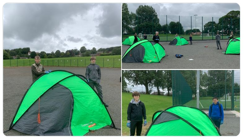 Three pictures of green tents in a field