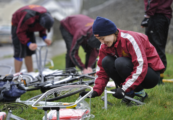 Young people working on bikes at Brecon Beacons