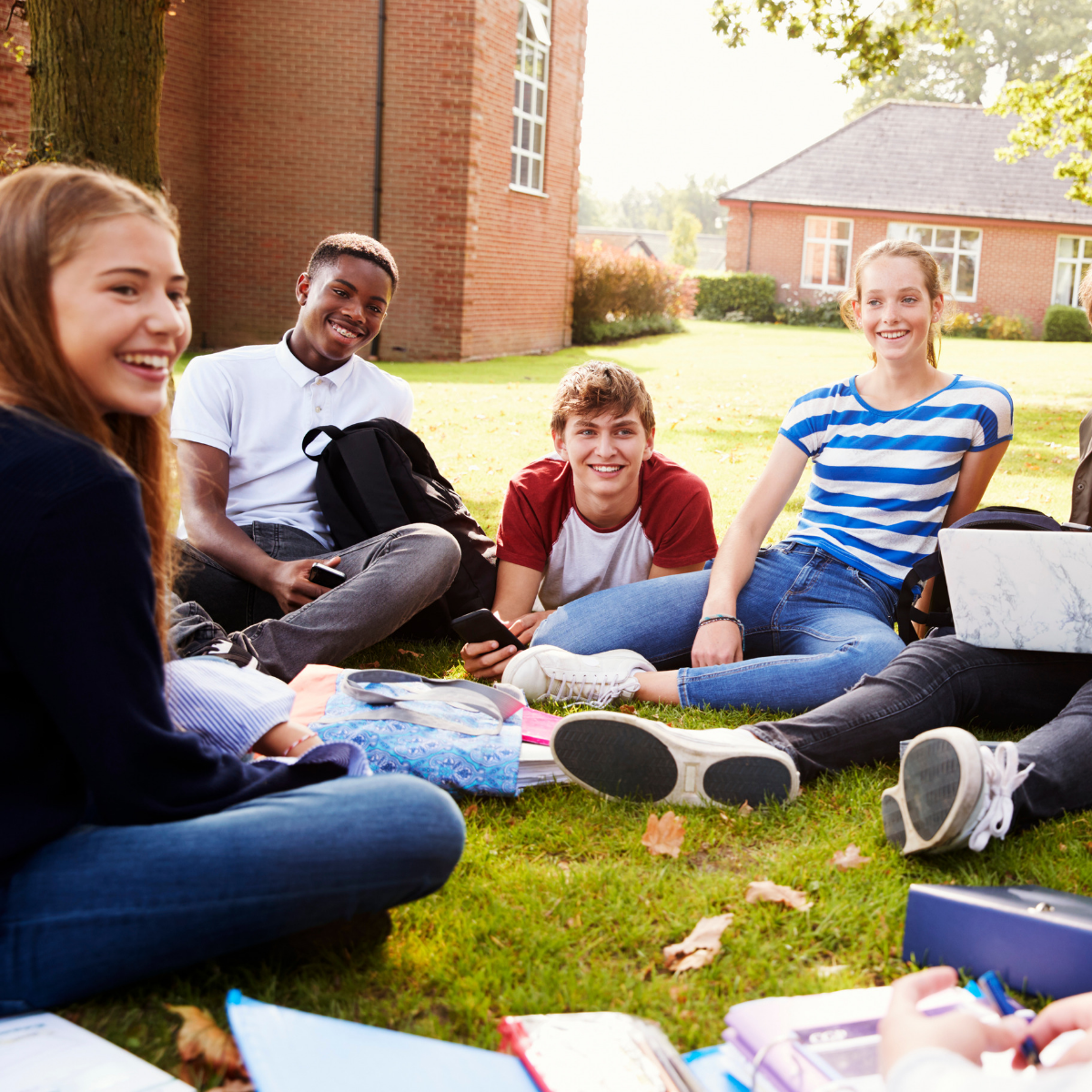 Group of young people smiling sat on the grass