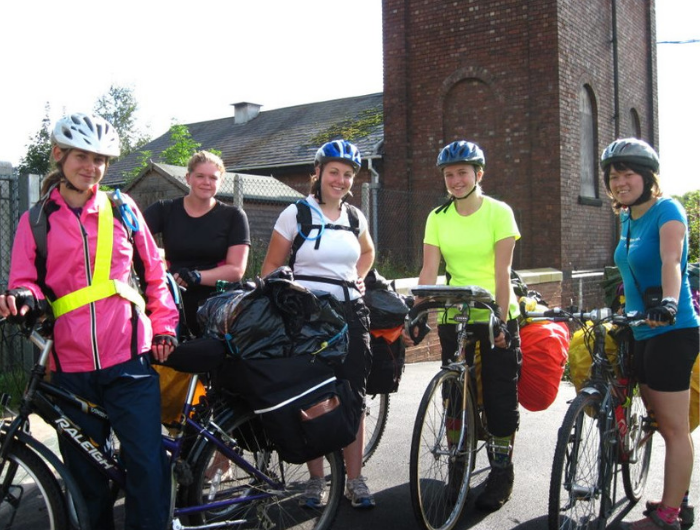 Group of young women with bikes