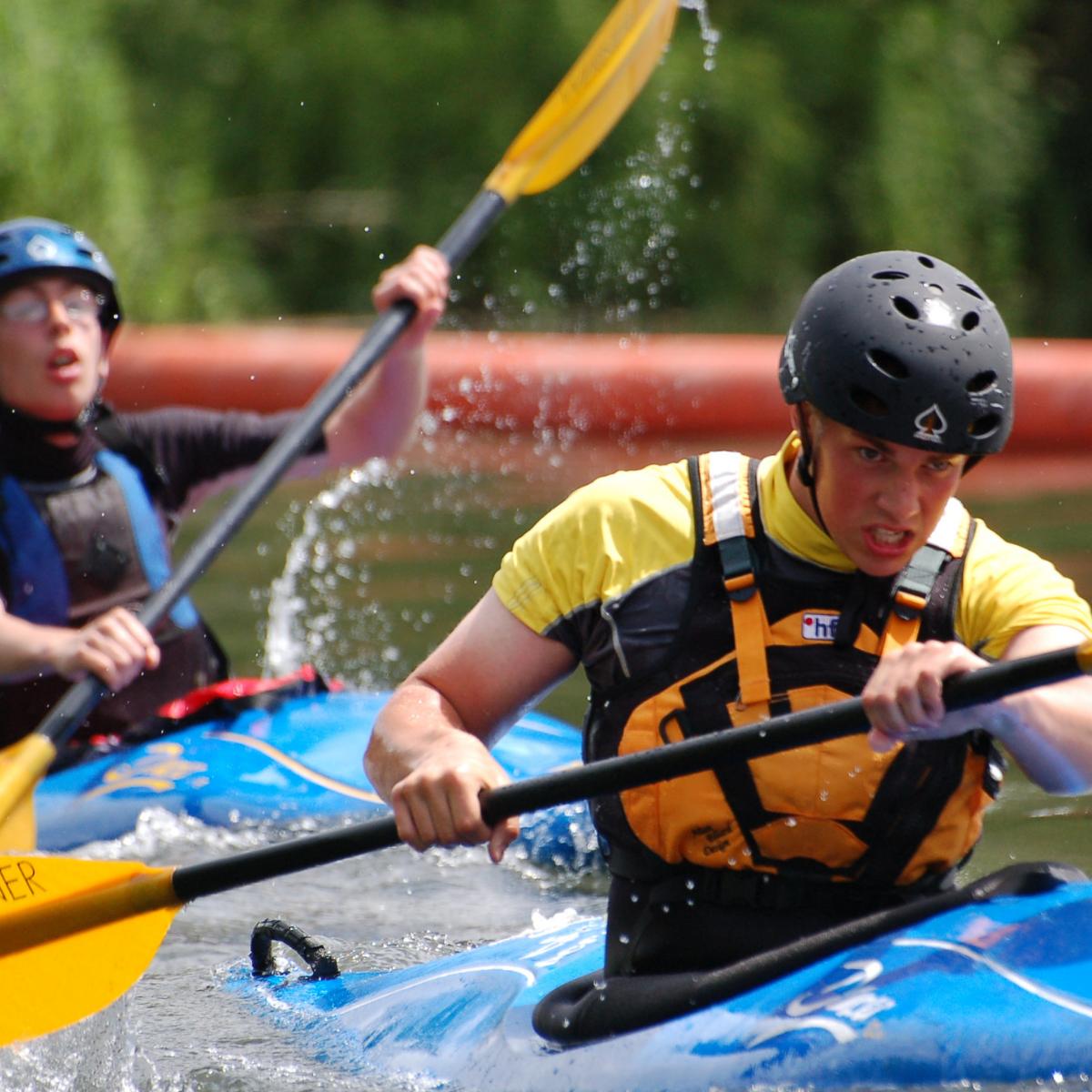 Two boys kayaking