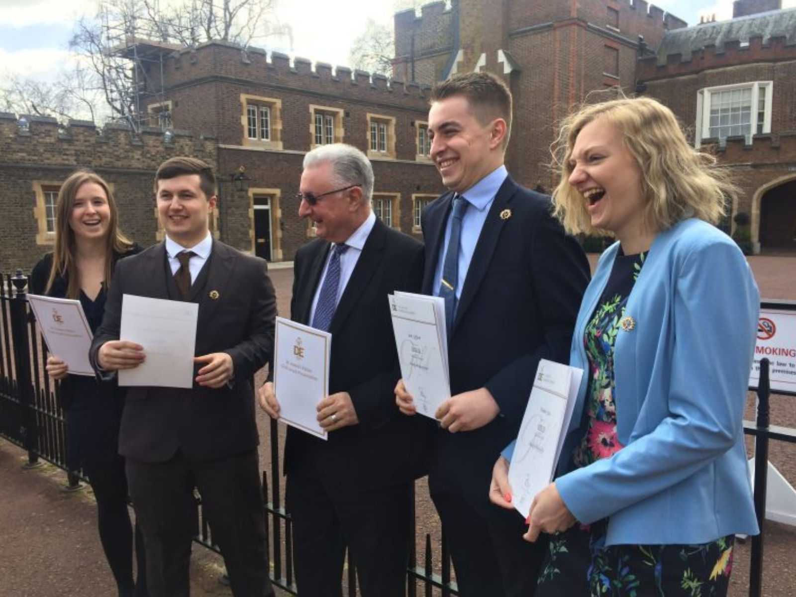 Group of Gold DofE Award holders with certificates at St James's Palace