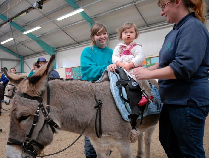 A young woman volunteering at a donkey sanctuary helps a young child with Down Syndrome