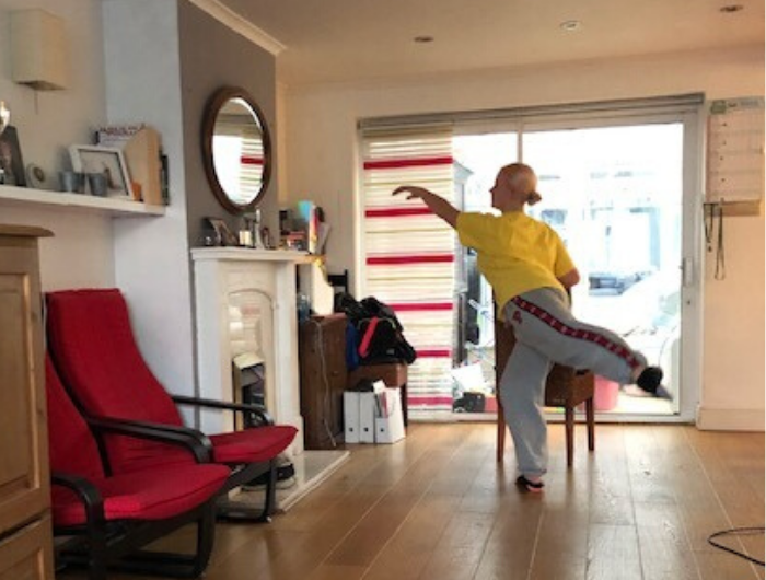 Margot dancing in living room