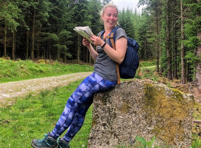 Holly on DofE expedition wearing blue leggings and grey tshirt